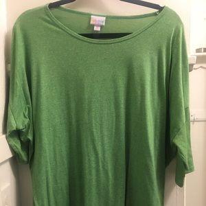 Woman's LuLaRoe xl green tunic 3/4 sleeve Hi/Low